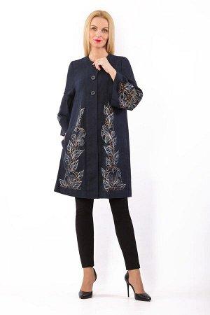 """Пальто женское """"Оделис"""" модель 711/1 темно-синее"""
