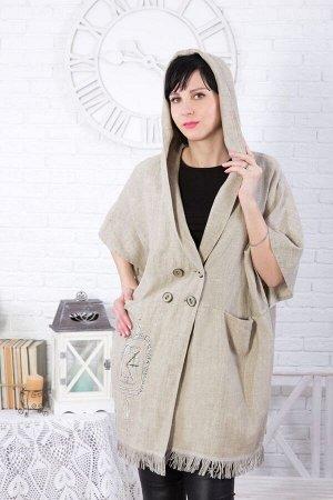 Пальто женское Пончо с капюшоном модель 739 натуральный лён