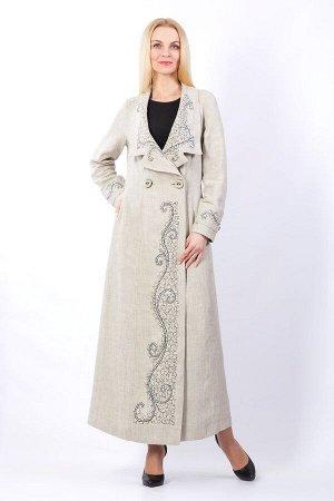 """Пальто женское """"Маркиза с большим лацканом"""" модель 799 натуральный лён"""
