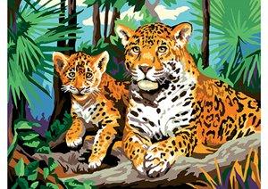 """Холст с красками """"Леопарды"""" 30*40 см"""