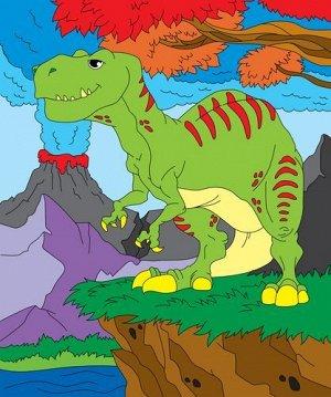 "Холст с красками по номерам ""Динозавр и вулкан"" 25*30 см"