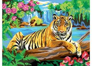 "Холст с красками по номерам ""Тигр""  30*40 см"