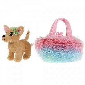 """Игрушка мягк. """"Мой питомец"""" Собачка,15 см , в меховой радужной сумочке,пак"""