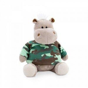Игрушка мягк. Бегемот в армейской футболке, 20 см