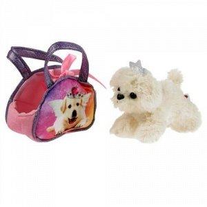 """Мягкая игрушка """"Мой питомец"""" Собачка 15 см, в модной сумочке"""