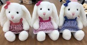 Мягкая игрушка Зайка с длинными ушами,в платье, с бантиком, 25 см