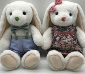 Мягкая игрушка Зайчик (мальчик/девочка) голуб. комб./пластье с роз. лентой,35 см