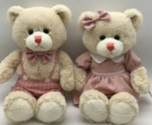 Мягкая игрушка Мишка (мальчик/девочка) в беж. платье/беж. штанишках,35 см
