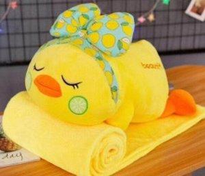 Мягкая игрушка-подушка с пледом Уточка с бантиком, 50 см