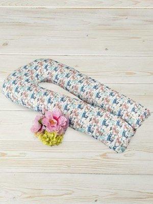 """Подушка для беременных """"AmaroBaby"""" U-образная,340*35 см. (файбер, бязь) Ламы"""