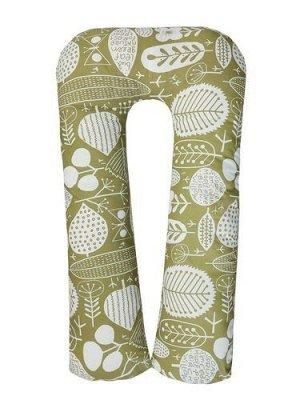 """Подушка для беременных """"AmaroBaby"""" U-образная,340*35 см. (файбер, бязь) Листья,хаки"""