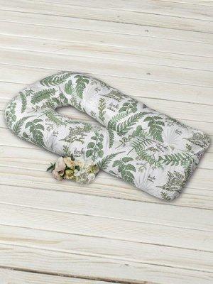 """Подушка для беременных """"AmaroBaby"""" U-образная,340*35 см. (файбер, бязь) Папоротники"""