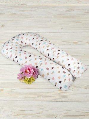 """Подушка для беременных """"AmaroBaby"""" U-образная,340*35 см. (файбер, бязь) Эскимо"""