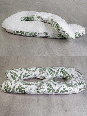 Подушка для беременных АНАТОМИЧЕСКАЯ AmaroBaby 340*72 Exclusive Soft Collection  Папоротники