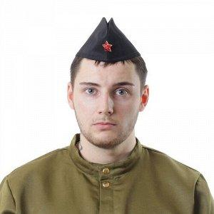 Пилотка простая  со звездой, цв. черный (обхват головы 54-57 см )