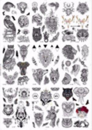 Татуировка-наклейка  Черно-белые животные,16,5*23  см