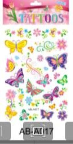 Татуировка-наклейка Бабочки  ,14,8*20,8 см