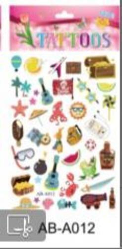 Татуировка-наклейка Отдых на море ,14,8*20,8 см