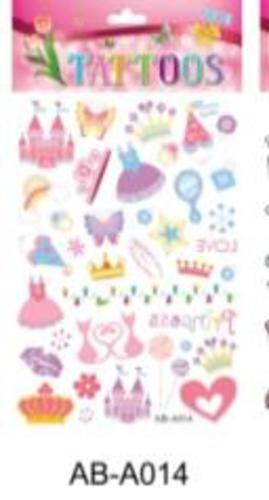 Татуировка-наклейка Принцесса ,14,8*20,8 см