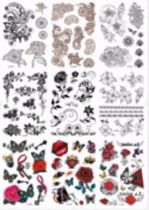 Татуировка-наклейка Цветы,16,5*23  см