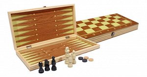 Игра 3 в 1 Шашки,Шашки,Нарды деревянные (поле 29 см.)