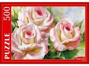 """Пазлы 500  И.Левашов """"Бело-розовые розы"""""""