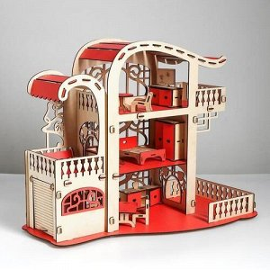 """Кукольный домик с мебелью """"Усадьба Милана"""" розовый ,44*56,4*28,5 см"""