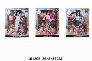 Кукла с велосипедом .в ассорт.,кор 26*8*33 см