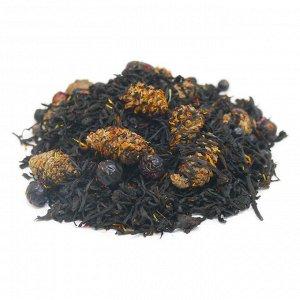 Чай Байкал Сочетание крупнолистового индийского черного чая с ягодами можжевельника, черной смородины и черноплодной рябины. Букет дополнен лепестками сафлора и сушеными сосновыми шишками, с великолеп