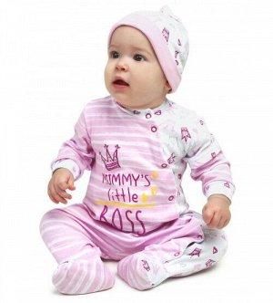 "Комбинезон ""Little BOSS"" девочка (интерлок) розовый"