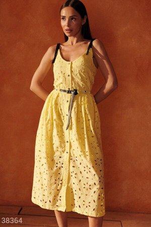 Желтый сарафан с кожаными деталями