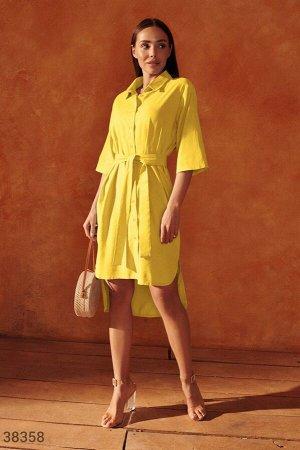Желтое платье рубашечного кроя