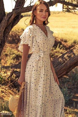Белое воздушное платье-макси