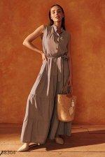 Кофейное платье с объемной юбкой