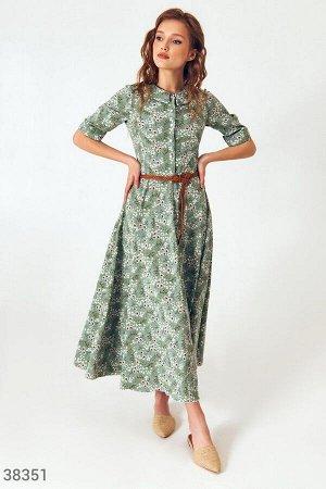 Трендовое зеленое платье с плетеным поясом