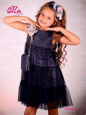 Платье дев. третьего слоя Юниса синий жемчуг