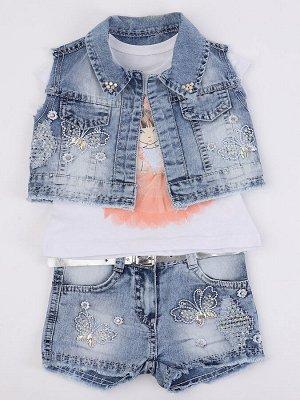 Комплект для девочки: футболка, шорты джинсовые и жилет
