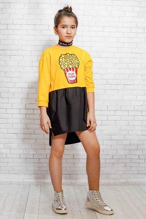 Платье прямого силуэта с асимметричным низом