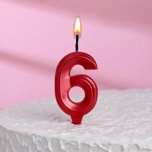 """Свеча в торт """"Грань"""", цифра """"6"""", красный металлик"""