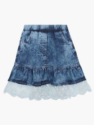 Юбка джинсовая, отделка гипюр