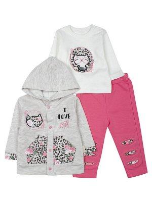 Комплект для девочки: толстовка на кнопках с капюшоном, кофточка и штанишки