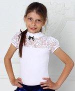 Белая школьная водолазка с коротким рукавом для девочки Цвет: белый