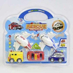 Набор мини транспорта, 3 машинки + 2 самолета