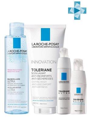 Ля Рош Позе Набор Ультра 40 мл + Ультра для глаз 20 мл + Очищающий гель 200 мл + Мицеллярная вода для чувствительной кожи, 200 мл (La Roche-Posay, Toleriane)