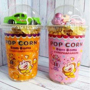 Карамельный попкорн в стакане с игрушкой для девочек, 40гр