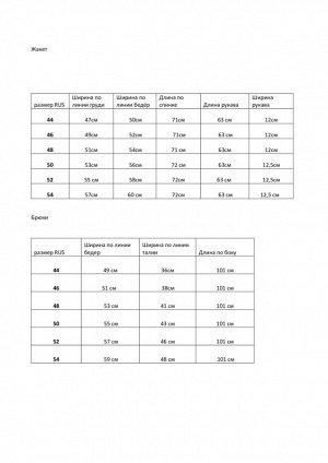 Костюм Костюм Azzara 757П  Состав: Вискоза-34%; ПЭ-63%; Спандекс-3%; Сезон: Весна-Лето Рост: 170  Комплект женский, состоящий из жакета на подкладке и брюк. Жакет полуприлегающего силуэта 2-бортный с