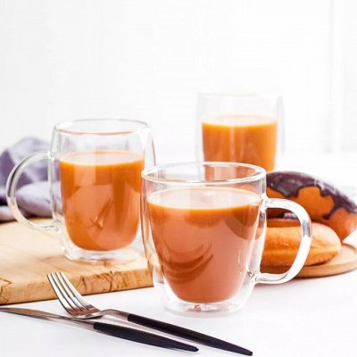 GLASSTAR🍹 Мега популярная — изысканная посуда — Кружки с двойными стенками/Столики для завтрака