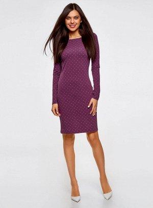 Платье трикотажное облегающего силуэта                   Фиолетовый