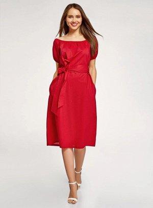 Платье с поясом и открытыми плечами