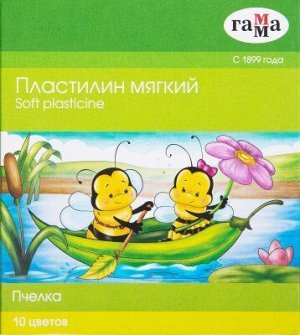 Пластилин восковой. Набор «Пчелка» 10 цветов со стеком (мягкий) 280031Н